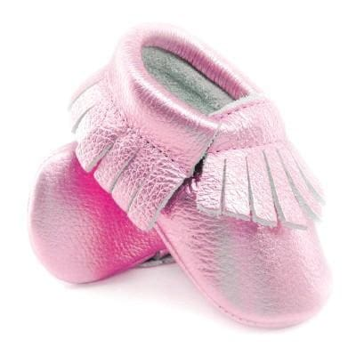 16color New Shine Pink Genuine Leather Baby moccasins First Walkers Soft Rose gold Baby girl shoes