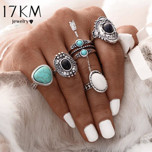 17KM 5 Pcs/Set  Antique Silver Color Bohemian Midi Ring Set Vintage Steampunk Anillos Knuckle Rings