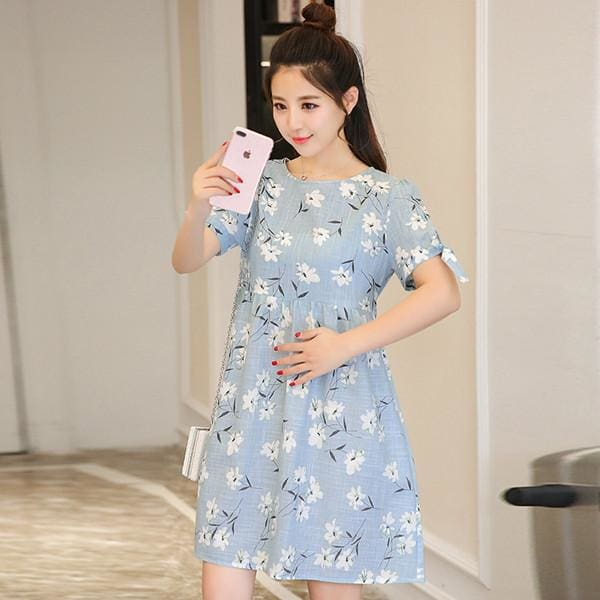 182# Ties Waist Floral Printed Linen Maternity Dress Summer Autumn Fashion Nursing Clothes for Short Sleeve / M