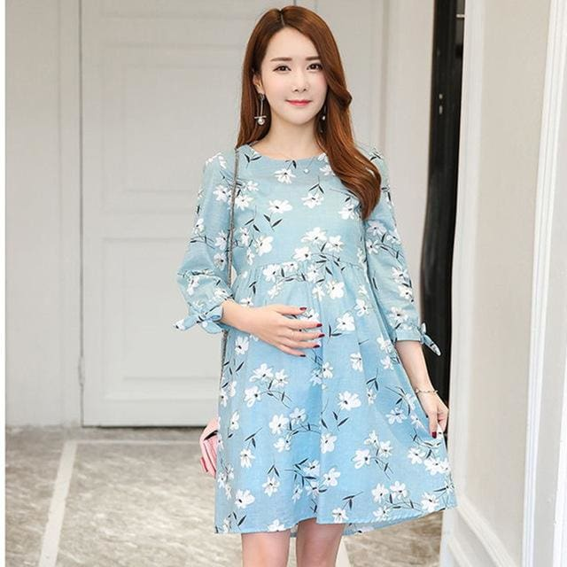 182# Ties Waist Floral Printed Linen Maternity Dress Summer Autumn Fashion Nursing Clothes for Long Sleeve / M