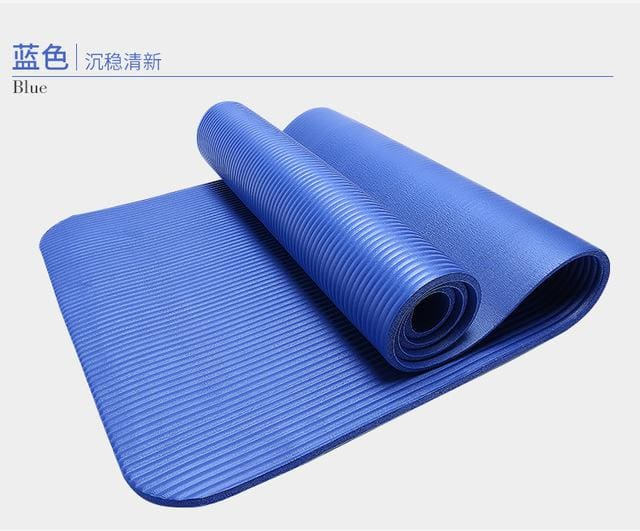 185Cm 10Mm Thickened Nbr Yoga Mat Widened Multifunctional Sports And Fitness Protective Pads Pilates Blue