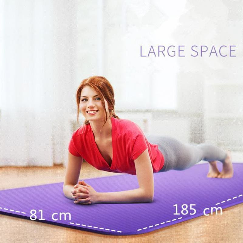 185Cm 10Mm Thickened Nbr Yoga Mat Widened Multifunctional Sports And Fitness Protective Pads Pilates