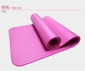 185Cm 10Mm Thickened Nbr Yoga Mat Widened Multifunctional Sports And Fitness Protective Pads Pilates Pink