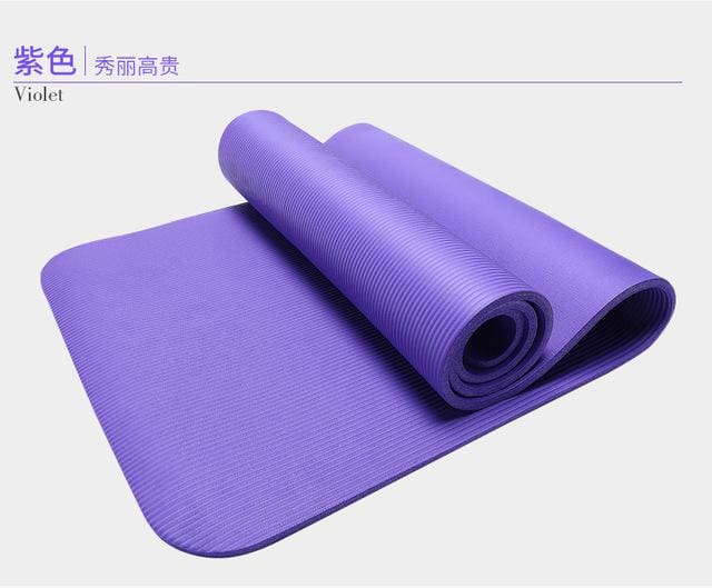 185Cm 10Mm Thickened Nbr Yoga Mat Widened Multifunctional Sports And Fitness Protective Pads Pilates Purple
