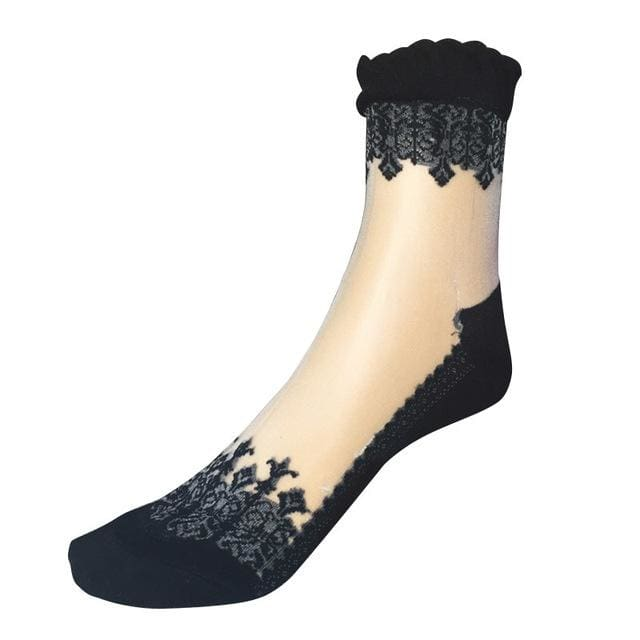 1Pair Women Lace Ruffle Ankle Sock Soft Comfy Sheer Silk Cotton Elastic Mesh Knit Frill Trim Black