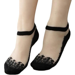 1Pair Women Lace Ruffle Ankle Sock Soft Comfy Sheer Silk Cotton Elastic Mesh Knit Frill Trim black DM