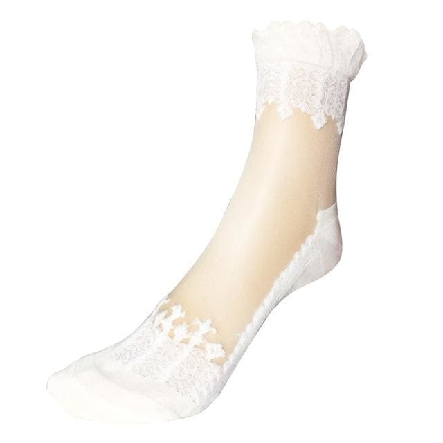 1Pair Women Lace Ruffle Ankle Sock Soft Comfy Sheer Silk Cotton Elastic Mesh Knit Frill Trim White