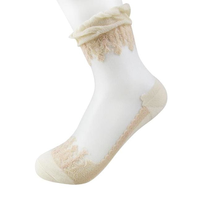 1Pair Women Lace Ruffle Ankle Sock Soft Comfy Sheer Silk Cotton Elastic Mesh Knit Frill Trim Khaki
