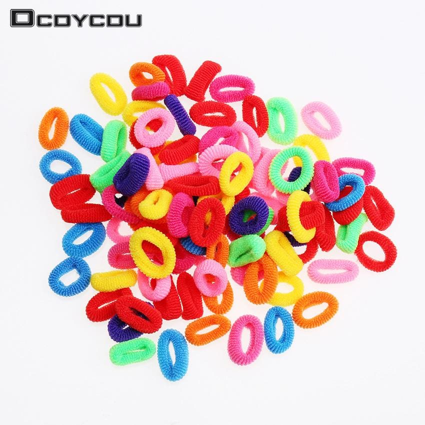 200 Pcs Colorful Child Kids Hair Holders Cute Rubber Hair Band Elastics Accessories Girl Women - MBMCITY