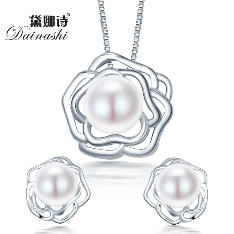 2015 fashion big flower 925 sterling silver jewelry sets pendant & necklace with s925 chain for - MBMCITY