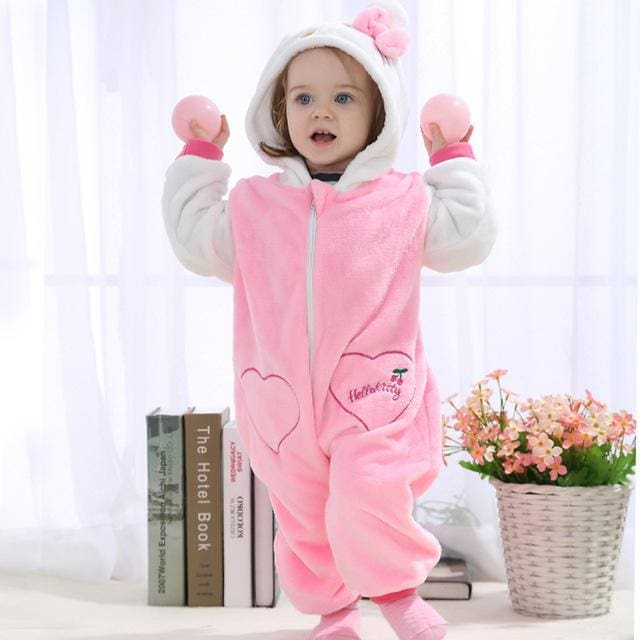 2016 Autumn Winter Flannel Baby Boy Clothes Cartoon Animal Jumpsuit Baby Girl Rompers Baby Long - MBMCITY