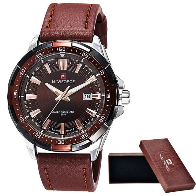 2016 NAVIFORCE Brand Men's Fashion Casual Sport Watches Men Waterproof Leather Quartz Watch Man