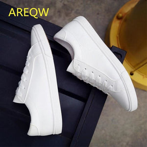 2016 New Spring and Summer With White Shoes Women Flat Leather Canvas Shoes Female White Board Shoes - MBMCITY
