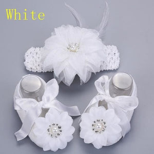 2016 Newborn Baby Girl Shoes Brand,white baptism,Toddler Infant Fabric Baby Booties Headband Set,