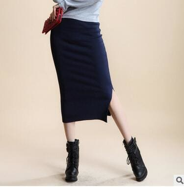 2016 spring Autumn And Winter package hip skirt slit skirts women step skirt stretch Slim thin Navy / One Size