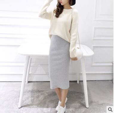 2016 spring Autumn And Winter package hip skirt slit skirts women step skirt stretch Slim thin Light gray / One Size