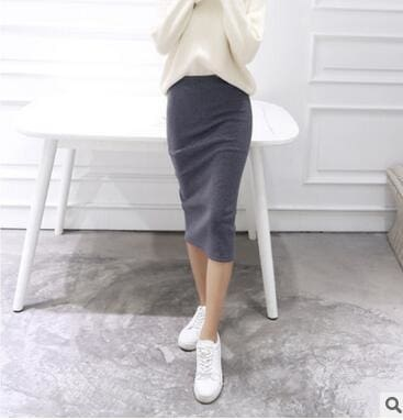 2016 spring Autumn And Winter package hip skirt slit skirts women step skirt stretch Slim thin Dark gray / One Size