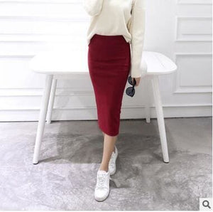 2016 spring Autumn And Winter package hip skirt slit skirts women step skirt stretch Slim thin Red wine / One Size