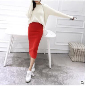 2016 spring Autumn And Winter package hip skirt slit skirts women step skirt stretch Slim thin Red / One Size