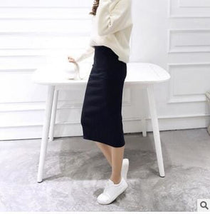 2016 spring Autumn And Winter package hip skirt slit skirts women step skirt stretch Slim thin black / One Size