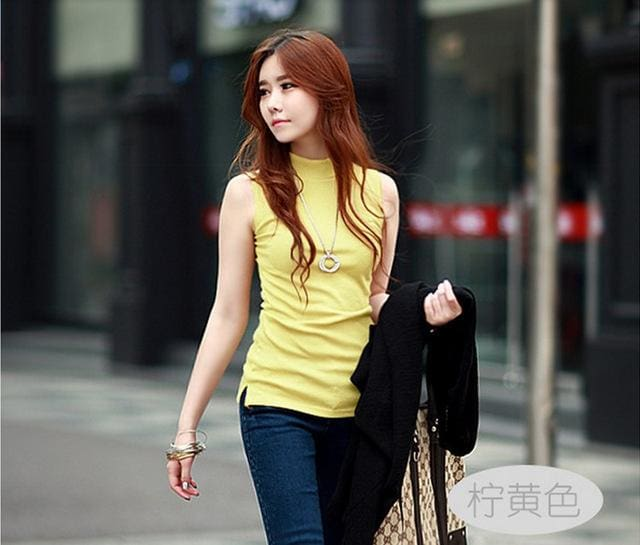 2016 women autumn winter sleeveless solid color Tops & Tees cotton Tanks tops & Camis women lady Yellow / S