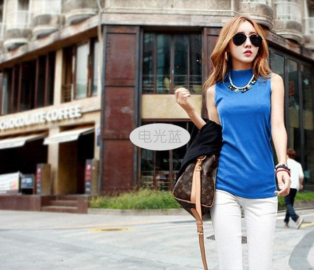 2016 women autumn winter sleeveless solid color Tops & Tees cotton Tanks tops & Camis women lady Blue / S