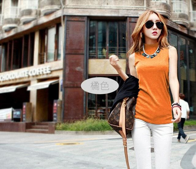 2016 women autumn winter sleeveless solid color Tops & Tees cotton Tanks tops & Camis women lady Orange / S