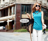 2016 women autumn winter sleeveless solid color Tops & Tees cotton Tanks tops & Camis women lady Sky Blue / S