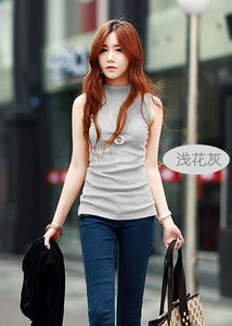 2016 women autumn winter sleeveless solid color Tops & Tees cotton Tanks tops & Camis women lady Gray / S