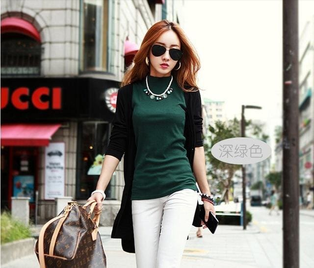 2016 Women Autumn Winter Sleeveless Solid Color Tops & Tees Cotton Tanks Tops & Camis Women Lady Green / S