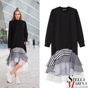 2017 Autumn Fashion Women Black Casual Dress Long Sleeve Layered Striped Silhouette With Mesh Cute