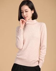 2017 Autumn Winter Cashmere Sweater Female Pullover High Collar Turtleneck Sweater Women Solid Beige / S