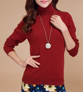 2017 Autumn Winter Cashmere Sweater Female Pullover High Collar Turtleneck Sweater Women Solid Rust Red / S