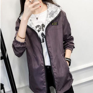 2017 Autumn Women Bomber Basic Jacket Pocket Zipper Hoodies Women Two Side Wear Cartoon Print Purple / L