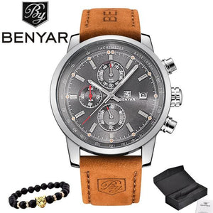 2017 Benyar Watches Men Luxury Brand Quartz Watch Fashion Chronograph Sport Reloj Hombre Clock Male Silver Gray And Box / China