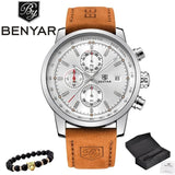 2017 Benyar Watches Men Luxury Brand Quartz Watch Fashion Chronograph Sport Reloj Hombre Clock Male Silver White And Box / China
