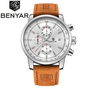 2017 Benyar Watches Men Luxury Brand Quartz Watch Fashion Chronograph Sport Reloj Hombre Clock Male Silver Black And Box / China