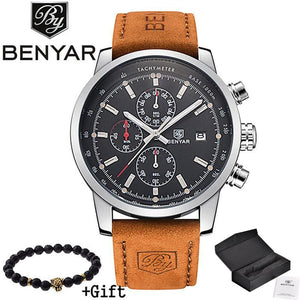 2017 Benyar Watches Men Luxury Brand Quartz Watch Fashion Chronograph Sport Reloj Hombre Clock Male