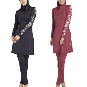 2017 Black / Wine Red Printed Muslim Swimwear Islamic Swimsuit Long Sleeved Beach Wear Plus Size M L.