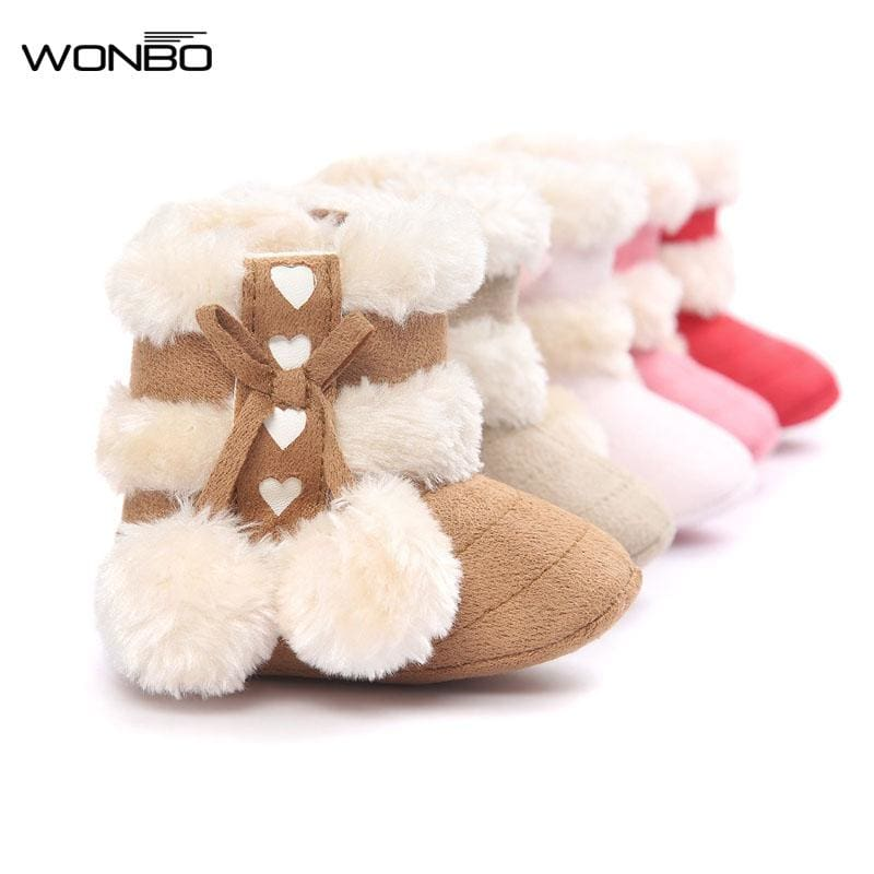 2017 Cute Ball Winter Boots Fashion Soft Bottom Baby Moccasin Baby First Walkers Baby Warm Boots - MBMCITY