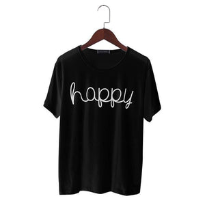 Fashion T-shirt Women Summer Happy Letter Print T Shirt Women Tops Casual Brand Tee Shirt Femme - MBMCITY