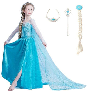 2017 Girls Dresses Elsa Dress Princess Movie Cosplay Party Dress Vestidos Fantasia Anna Elsa