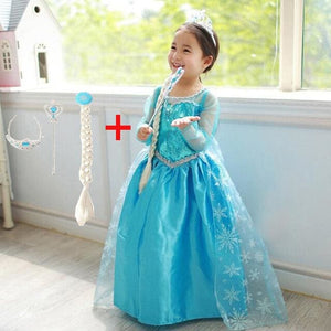 2017 Girls Dresses Elsa Dress Princess Movie Cosplay Party Dress Vestidos Fantasia Anna Elsa Elsa Dress 3 / 2T