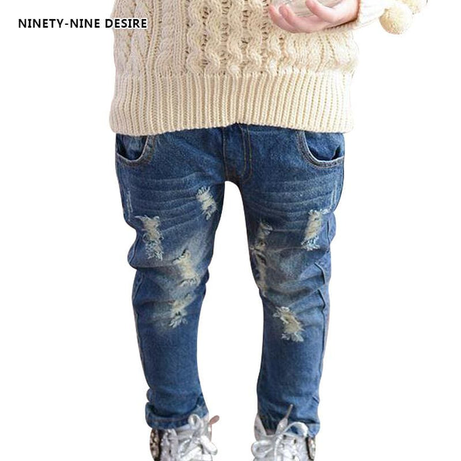 2017 Girls jeans pants spring Autumn children's clothing jeans blue trousers casual pants Baby - MBMCITY