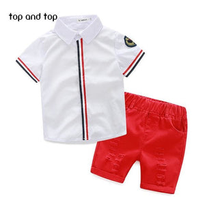 2017 high quality  Kids Clothing Sets T-shirt +short pants 2pcs baby clothing Boys Clothes Baby boys - MBMCITY