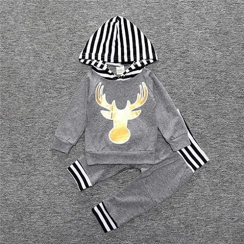 2017 Hot baby Autumn new baby boy clothes Children Baby Girls Long Sleeve Hooded Tops Floral pants 2 - MBMCITY