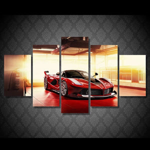2017 JIE DO ART Large Frame picture Red luxury sports car Ferrari Painting canvas Wall art decor - MBMCITY