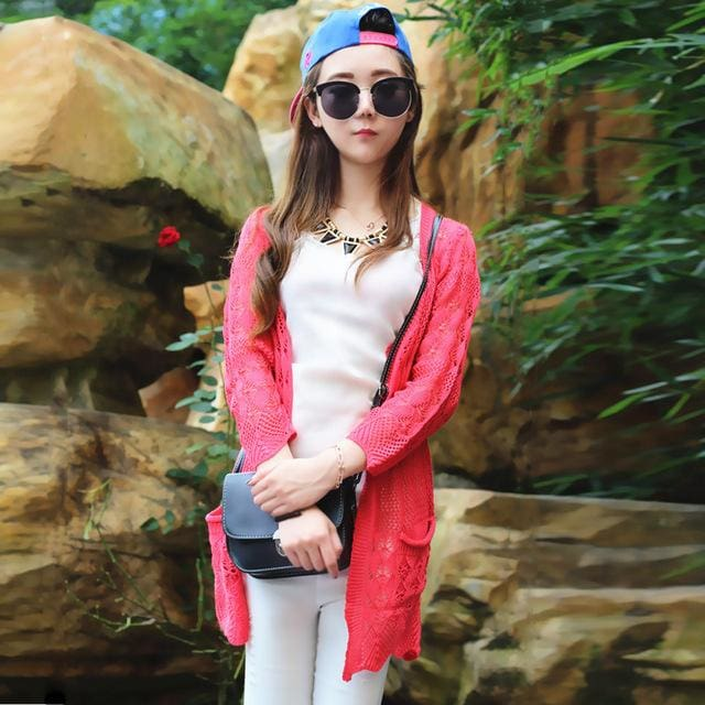 b51403e4adb9 2017 Ladies Crochet Tops Fashion Women Beach Cardigan Spring Summer Hollow  Out Knitted Sweaters 9 ...