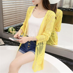2017 Ladies Crochet Tops Summer Hollow Out Knitted Sweaters Cardigan Rebecas Mujer Fashion Women 5 / One Size