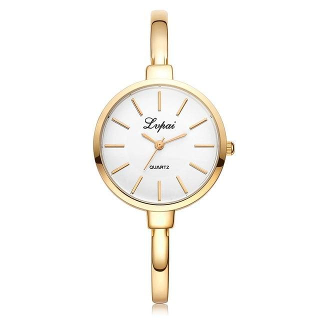 2017 LVPAI Brand Rose Gold Women Bracelet Watches Fashion Luxury Quartz-Watches Ladies Casual Dress Gold White